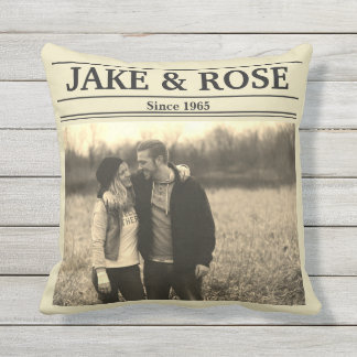 Newspaper Style (Personalise Photo & Text) Outdoor Cushion
