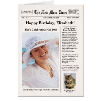 Newspaper Style with Cat Customisable Birthday Card