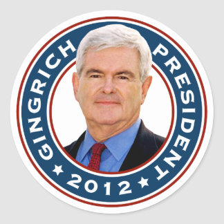 Newt Gingrich Conservative for President Classic Round Sticker
