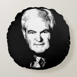 Newt Gingrich Face Round Cushion