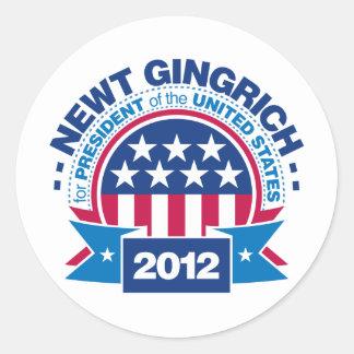 Newt Gingrich for President 2012 Round Sticker