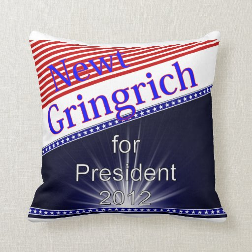 Newt Gingrich For President Explosion Throw Pillow