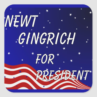 Newt Gingrich For President Night Sky Square Sticker