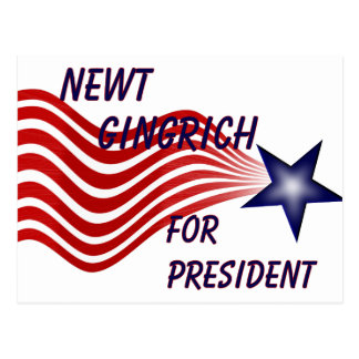 Newt Gingrich For President Shooting Star Postcard