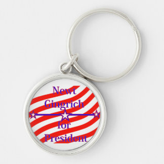 Newt Gingrich For President Strips With 3 Stars An Silver-Colored Round Key Ring