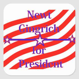 Newt Gingrich For President Strips With 3 Stars An Square Sticker