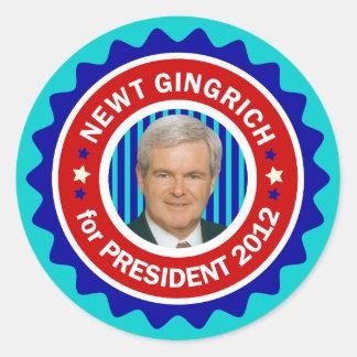 Newt Gingrich for US President 2012 Round Sticker