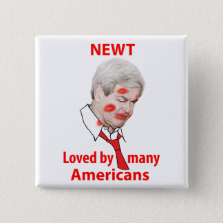 Newt Gingrich, Loved by Many Americans 15 Cm Square Badge