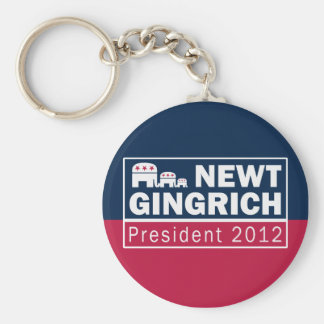 Newt Gingrich President 2012 Republican Elephant Basic Round Button Key Ring