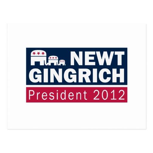 Newt Gingrich President 2012 Republican Elephant Postcard