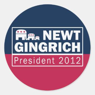Newt Gingrich President 2012 Republican Elephant Round Sticker