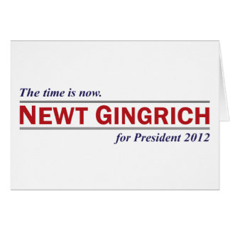Newt Gingrich The Time is Now President 2012 Greeting Card