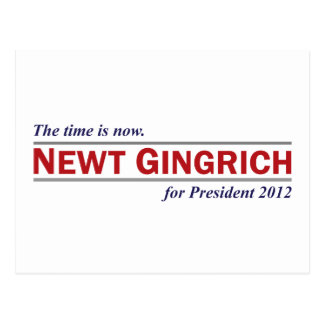 Newt Gingrich The Time is Now President 2012 Postcard
