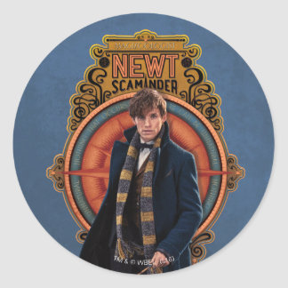 NEWT SCAMANDER™ Walking Art Nouveau Panel Classic Round Sticker