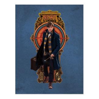 Newt Scamander Walking Art Nouveau Panel Postcard
