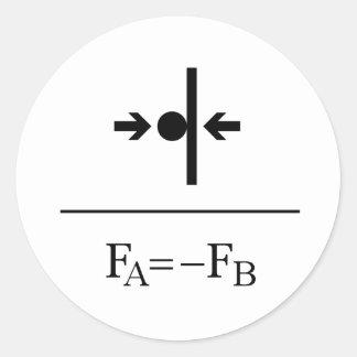 Newton's Third Law Round Sticker