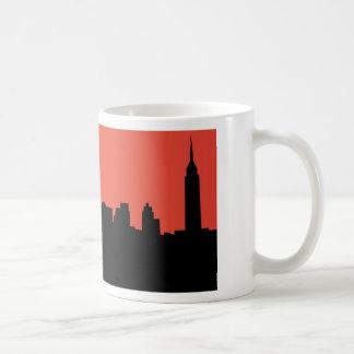 newyork skyline comic style basic white mug