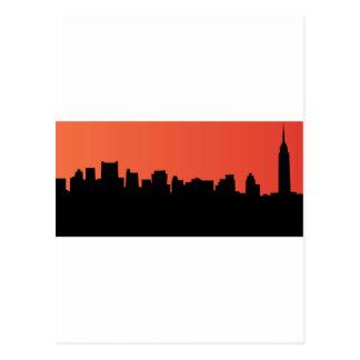 newyork skyline comic style postcard