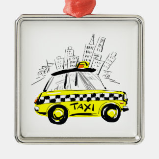 newyork taxi Silver-Colored square decoration
