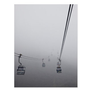 Ngong Ping Cable Car in thick fog Postcard