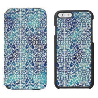 Niagara and Lapis Blue Batik Shibori Damask Incipio Watson™ iPhone 6 Wallet Case
