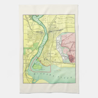 Niagara Falls and Vicinity Vintage Map 1885 Tea Towel