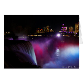 Niagara Falls at night Pink and Purple Card