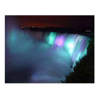 Niagara Falls Canada Night Purple Aqua Postcard