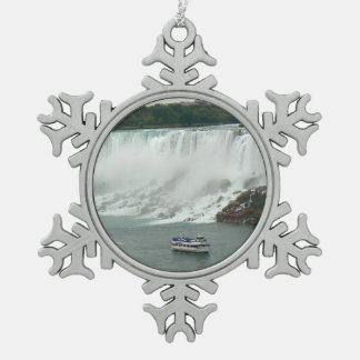 Niagara Falls on the Canadian Side Pewter Snowflake Decoration