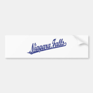 Niagara Falls script logo in blue distressed Bumper Sticker