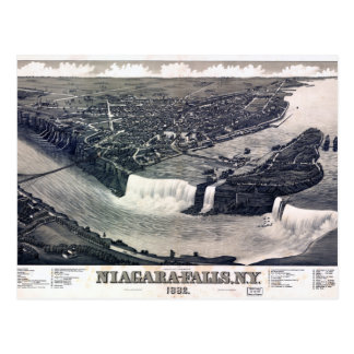 Niagara Falls Vintage drawing 1882 Restored Postcard