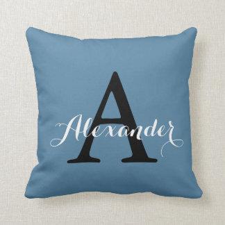 Niagara Ocean Denim Blue Solid Color Monogram Cushion