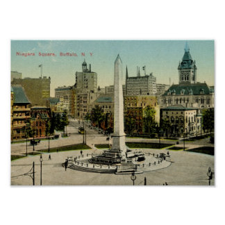 Niagara Square, Buffalo, NY Vintage Poster