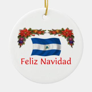 Nicaragua Christmas Round Ceramic Decoration