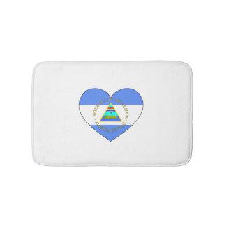 Nicaragua Flag Heart Bath Mats