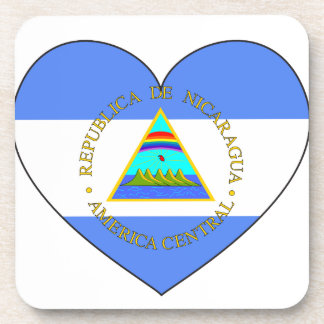 Nicaragua Flag Heart Coaster