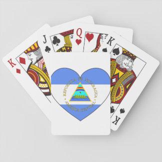 Nicaragua Flag Heart Playing Cards