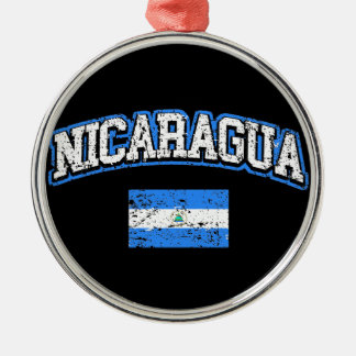 Nicaragua Flag Silver-Colored Round Decoration