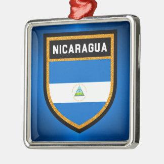 Nicaragua Flag Silver-Colored Square Decoration