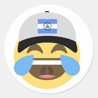 Nicaragua Hat Laughing Emoji Classic Round Sticker
