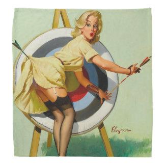 Nice Archery Shot - Retro Pin Up Girl Head Kerchiefs