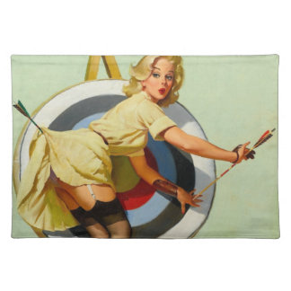 Nice Archery Shot - Retro Pin Up Girl Placemats