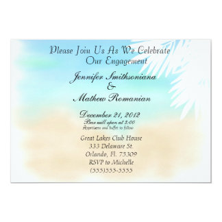 Nice Beach Scene Theme Engagement Party Card