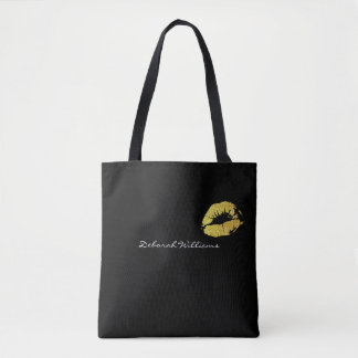 nice black tote bag with her name & gold lips