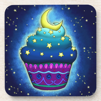 Nice blue Cupcake with moon and star Drink Coaster