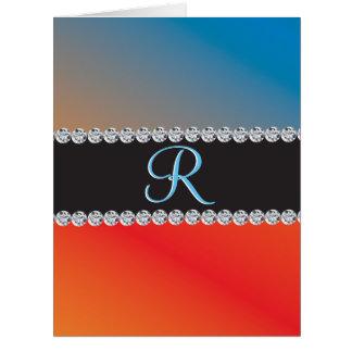 Nice Blue Orange Black Diamond 3d Monogram Initial Card