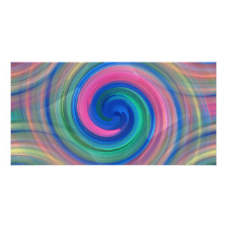 Nice candy swirl pattern with pink and purple customized photo card