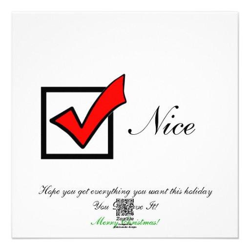 """""""Nice"""" Christmas Flat Card"""