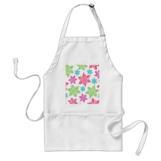 Nice Christmas Red, Green, pink, blue snowflakes Standard Apron