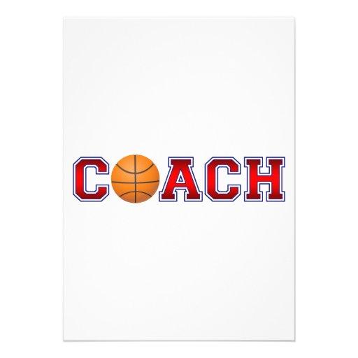 Nice Coach Basketball Insignia Custom Invites